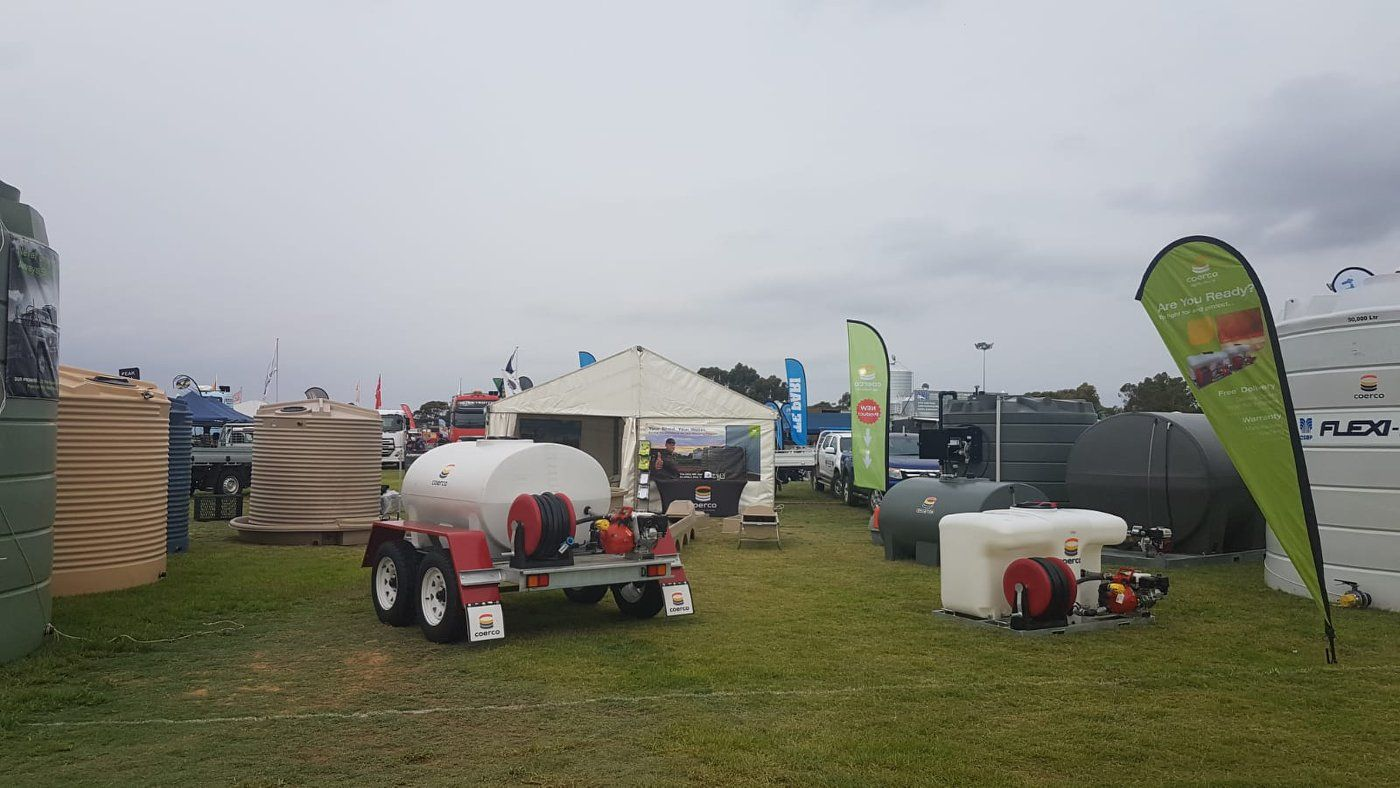 Coerco fire fighting equipment, cup and saucer for livestock, liquid fertiliser tank, and diesel cartage products