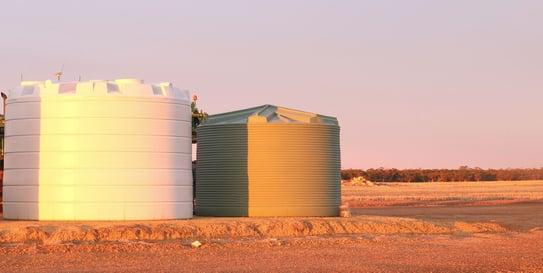 Coerco poly water tanks in the sun