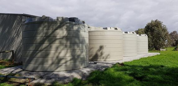 Coerco poly water tanks under the sun