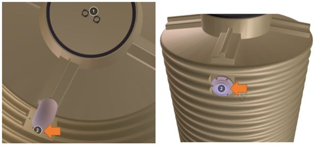 Tank fittings are indicated by numbers on the tank