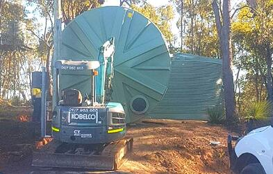 installation of Coerco poly water tanks