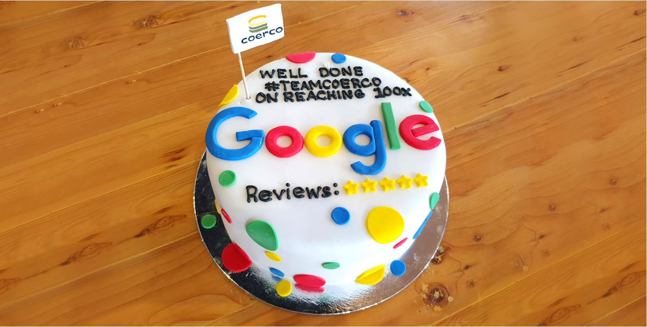Coerco 100th Google review celebratory cake-1