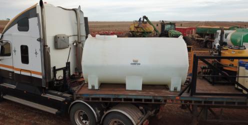 Coerco liquid cartage tank on truck deck